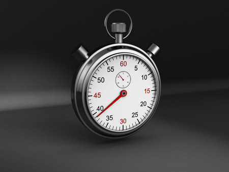 red competition: Classic Sports Stopwatch On Dark Background. 3d Render Illustration