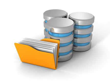 database icon: Computer Database With Yellow Office Document Folder. 3d Render Illustration