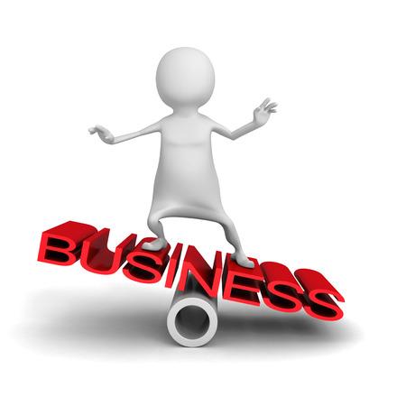 equalize: White 3d Man Balance On BUSINESS Word. 3d Render Illustration