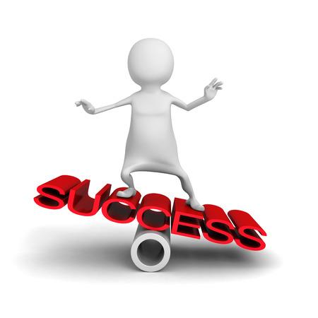 happy 3d: Happy 3d Man Balance On Word Success. 3d Render Illustration