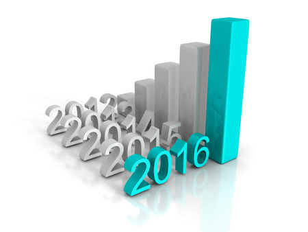 New Business Year 2016 Growth Chart Successful Graph. 3d Render Illustration Stock Photo