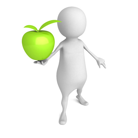 White 3d Man With Big Green Apple. 3d Render Illustration Stock Photo