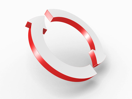 circular arrow: Two Round Cycled Red Arrows. 3d Render Illustration