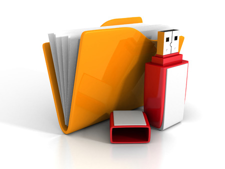 microdrive: Orange Office Folder With Red USB Flash Drive. Saving Data Concept 3d Render Illustration Stock Photo