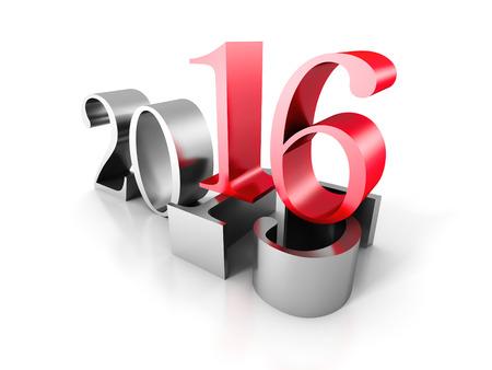 ove: New Year Number 2016 Ove Old 2016. 3d Render Illustration