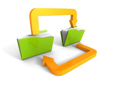 Date Transferring Concept With Document Folders And Arrows. 3d Render Illustration Zdjęcie Seryjne