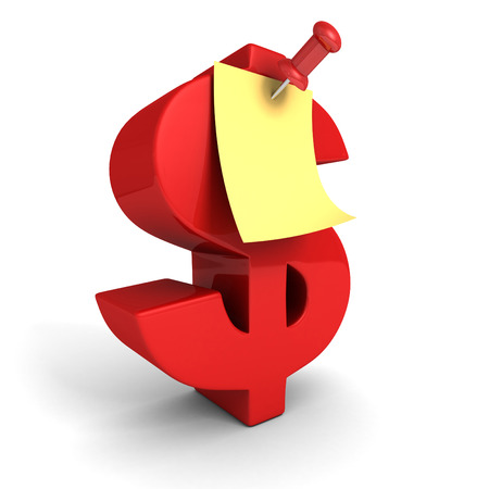 paper pin: Red Dollar Symbol With Paper Note Push Pin. 3d Render Illustration