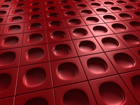 meshed: Red Industrial Metallic Shiny Background. 3d Render Illustration