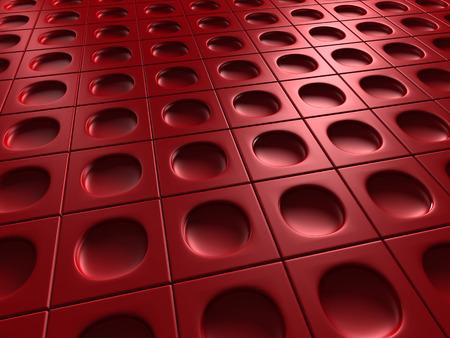 meshed: Red Industrial Metallic Shiny Background. 3d Render Illustration