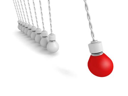 pendulum: Concept Teamwork Pendulum From Light Bulbs On White Background. 3d Render Illustration Stock Photo