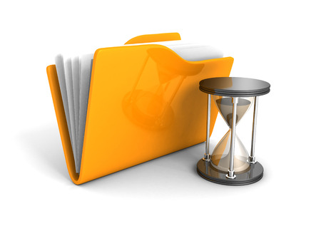 time: Office Document Folder With Sand Hourglass. 3d Render Illustration Stock Photo