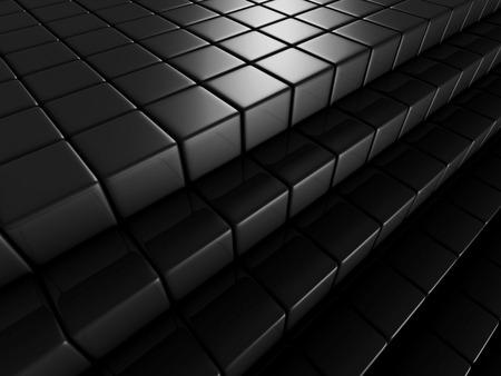 diagonals: Abstract Dark Background Of Metallic Cubes. 3d Render Illustration