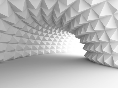 Abstract Architecture Tunnel With Light Background. 3d Render Illustration