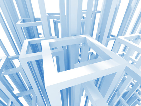 order chaos: Abstract Architecture Construction Structure Background. 3d Render Illustration Stock Photo