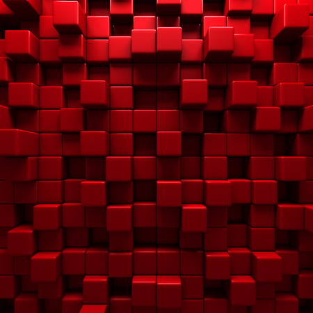 Abstract Red Cube Blocks Wall Background. 3d Render Illustration Standard-Bild