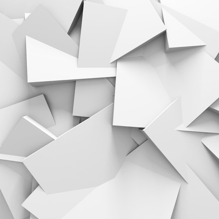 Abstract White Blocks Structure Wall Background. 3d Render Illustration Stock Photo