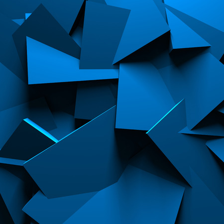 Blue Abstract Chaotic Design Wall Background. 3d Render Illustration
