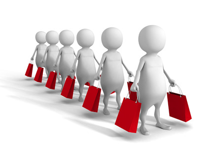 consumerism: White Abstract 3d People With Shopping Bags. Sale Concept. 3d Render Illustration Stock Photo
