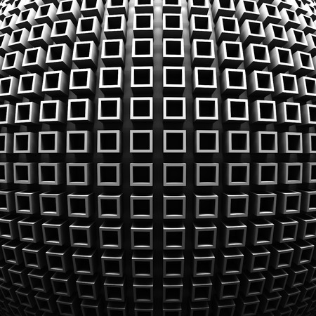 meshed: Dark Abstract Geometric Pattern Wall Background. 3d Render Illustration