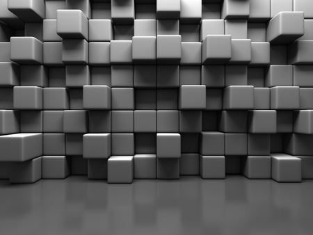 cuboid: Abstract Gray Cube Blocks Wall Background. 3d Render Illustration