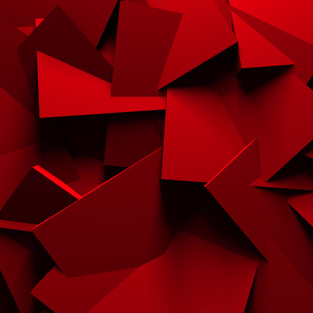 Fundo vermelho Chaotic Cubes Wall. 3d rendem a ilustra