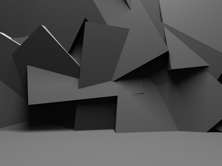 Abstract Dark Wall With Chaotic Polygonal Relief  Background. 3d Render Illustration
