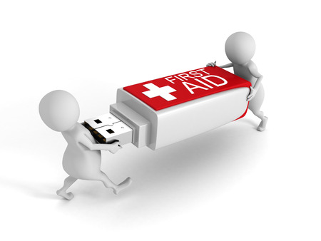 medics: 3d People With First Aid Usb Flash Drive On White Background. 3d Render Illustration Stock Photo
