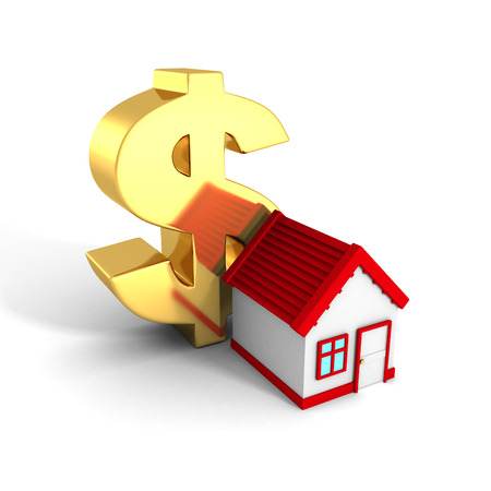 investment real state: Casa con techo rojo y s�mbolo del d�lar de oro grande. 3d hacer ilustraci�n