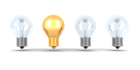 Idea Concept Golden Light Bulb Out From Others Bulbs. 3d Render Illustration