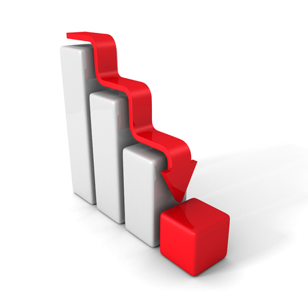 data loss: Crisis Bar Graph With Down Arrow. 3d Render Illustration Stock Photo
