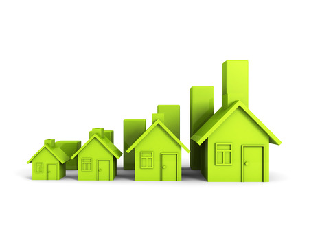 Growing Green House Chart Graph. Real Estate Concept 3d Render Illustration