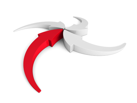 red point: Arrows Pointing To Center Point With Red Leader. 3d Render Illustration Stock Photo