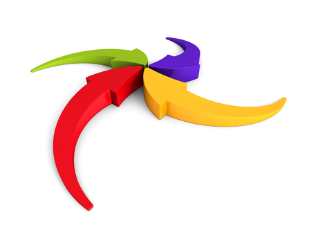 inward: Colorful Curving Arrows Sweep Inward To Point At Center. 3d Render Illustration Stock Photo