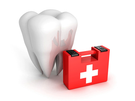 Healthy Tooth And Medical Kit on white background. 3d Render Illustration 스톡 콘텐츠