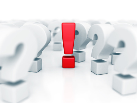 Red Different Idea Exclamation Mark In Question Problems Symbol. 3d Render Illustration