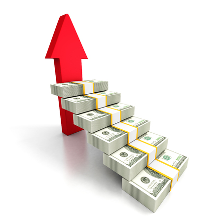 wealth concept: Hundred Dollars Ladder Staircase With Rising Arrow. Business Success 3d Render Illustration