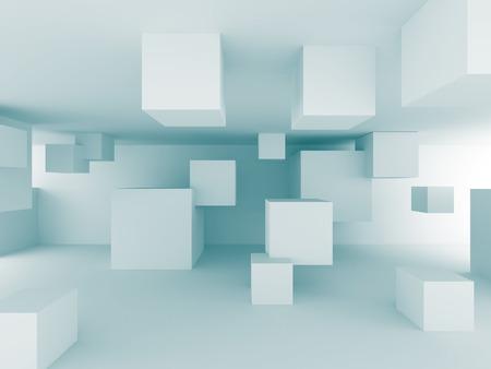 Abstract Chaotische Kubussen Bouw Achtergrond van het Ontwerp. 3d Render Illustratie
