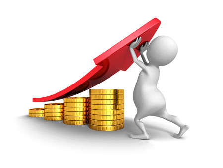 sales executive: White 3d Man And Successful Business  Golden Coins Bar Graph. 3d Render Illustration