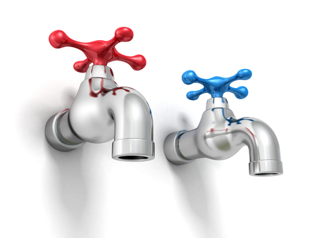 Cold And Hot Water Tap Faucets. 3d Render Illustration