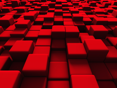 red cube: Abstract Red Cube Blocks Background. 3d Render Illustration
