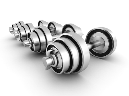 kilos: Set Of Heavy Iron Metallic Dumbells On White Background. 3d Render Illustration Stock Photo