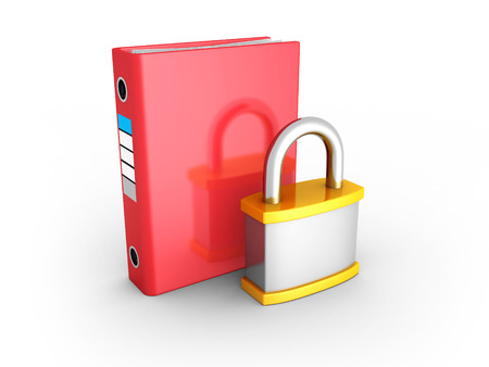 confidentially: Red Ring Binder With Orange Metallic Padlock. Document Data Protection. 3d Render Illustration Stock Photo