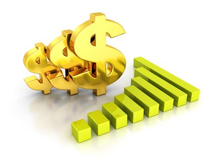 Bedrijfs Grafiek met gouden Tekens van de Dollar. 3d Render Illustratie