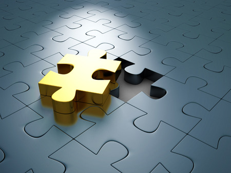 differs: Golden Different Jigsaw Puzzle Piece Out From Others. 3d Render Illustration