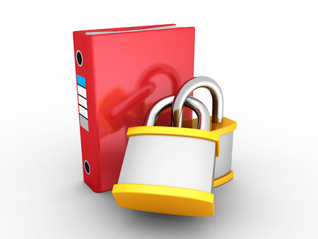 ring binder: Red Office Ring Binder Protected By Two Padlocks. 3d Render Illustration