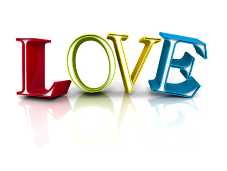romantic couple: Colorful LOVE Word Letters On White Background. 3d Render Illustration