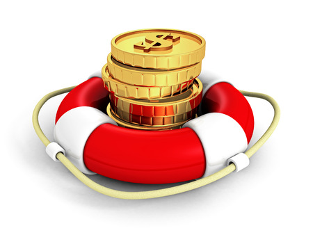 financial emergency: Set Of Dollar Currency Coins In Red Lifebuoy. 3d Render Illustration