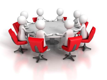 stockholder: Business Meeting Of Team Group 3d People. 3d Render Illustration