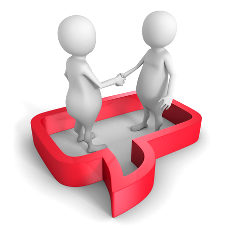 persuade: White 3d People Hand Shake In Speech Bubble. 3d Render Illustration