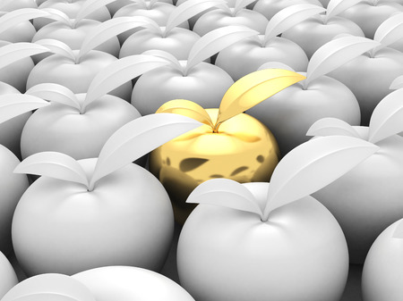 business leadership: Different Golden Apple Out From Others White. 3d Render Illustration